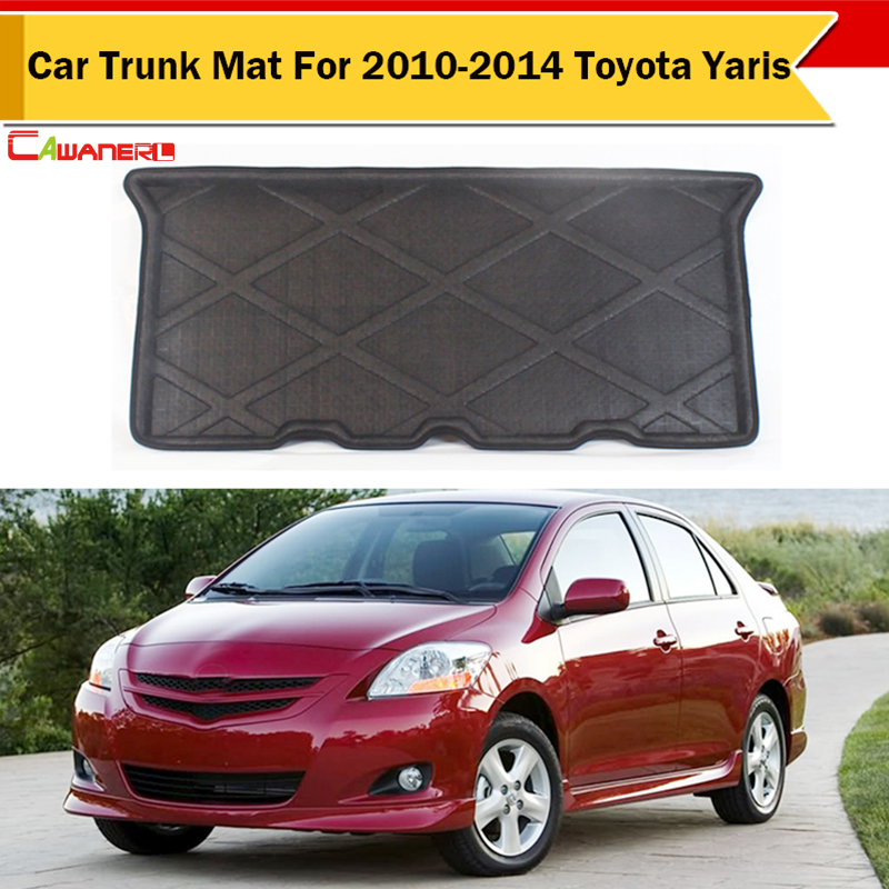 Cawanerl Brand New Car Trunk Floor Mat Tray Liner Boot Protector Carpet For 2010-2014 Toyota Yaris Easy Cleaning !