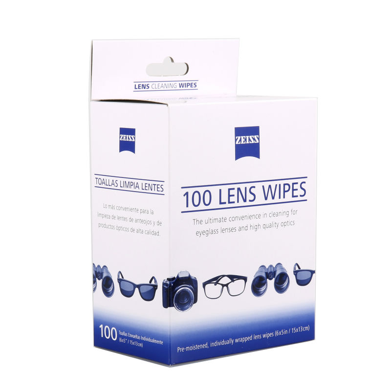ZEISS Lens Cleaning 100 Wipes Eye Glasses Computer Optical Lense Cleaner 6 x 5