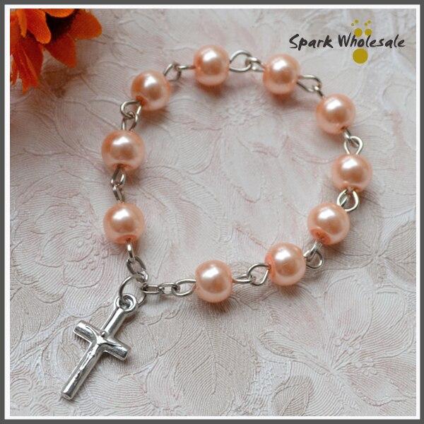 25pcs/lot Catholic Gift Glass Pearl Imitation Finger Rosary Religious Mini Rosary Ring Babys Baptism Favors Cross Rosary Ring