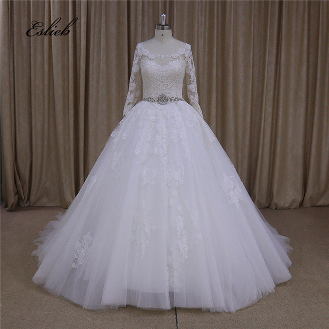 Special Lace Appliques Sheer Bodice Wedding Gown Half Sleeves Ball ...