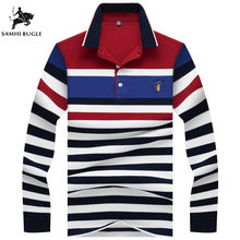 Outono inverno Nova Camisa Polo de Alta Qualidade Da Marca 100% Algodão dos homens  Camisa Polo Business Casual Listrado Camisa . bd5d732f0d99f
