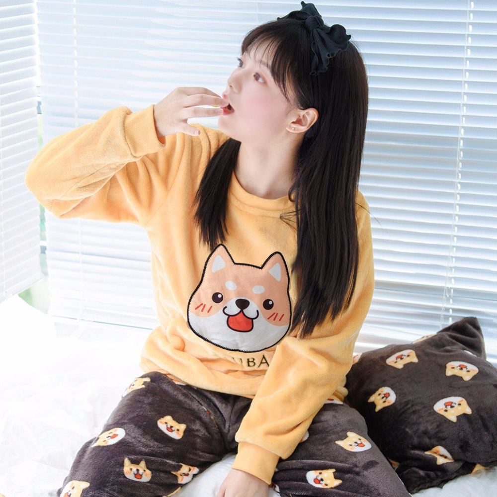 Fleece Thick Pajamas 2018 Plus Size M-5XL Cute Shiba Inu Appliques Print Dog 3 Pieces Pajama Set Elastic Waist Pyjamas S81905