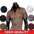 HoT 2016 Mens Fashion Cotton Diseñador Cross Line Slim Fit vestido de hombre Camisas Tops Casual Western Sml XL 8360