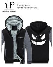 Dropshipping Pocket Monster Anime Pokemon Go Mens Zipper Hoodie Sweatshirt Jacket Fleece Thicken Game Fan Jacket Coat