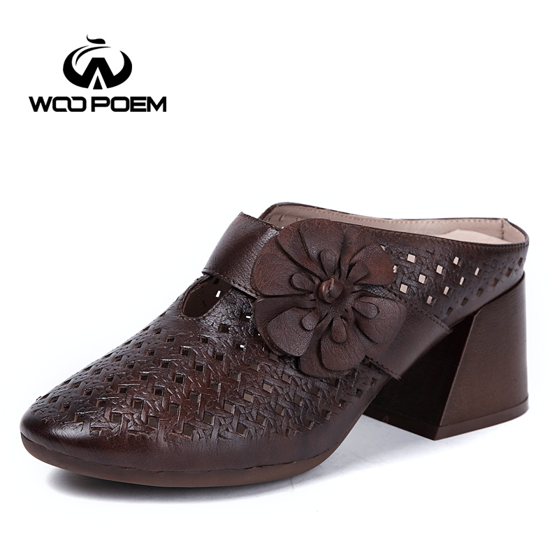 WooPoem/сезон: весна–лето обувь женская обувь из натуральной кожи обувь мода полой шлепанцы с цветами женская обувь на танкетке на высоком каб...