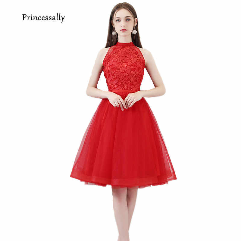 Red Evening Dress Short Classy High Neck Applique Beading Sleeveless Elegant Formal Bride Banquet Wedding Guest Simple Prom Gown Aliexpress
