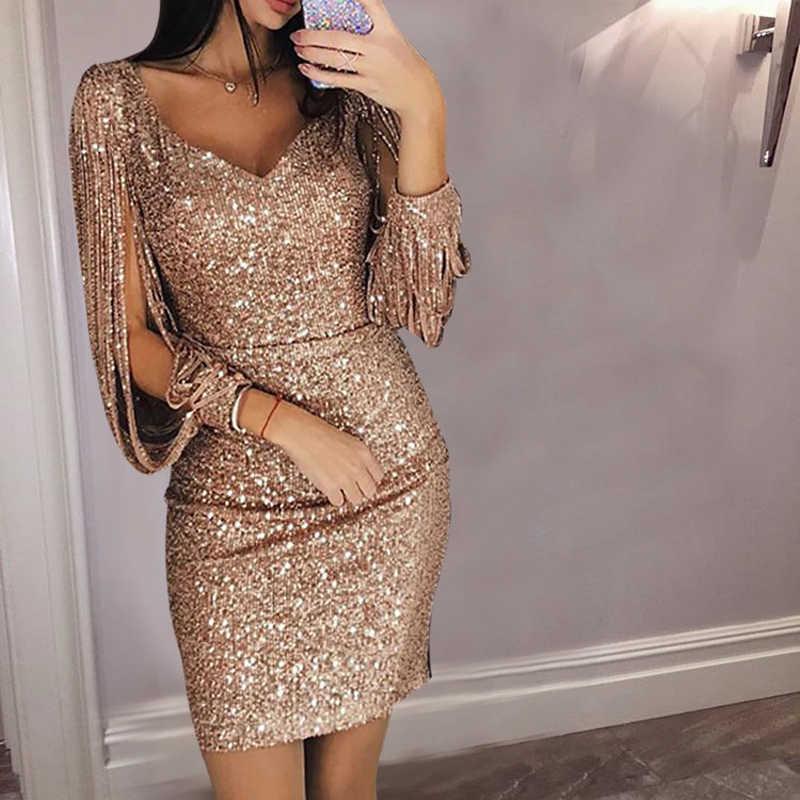Women Sexy Tassel Sequin Party Dress Slit Sleeve V Neck Club Mini Dress  Ladies Autumn Elegant cde23c7a4c0b