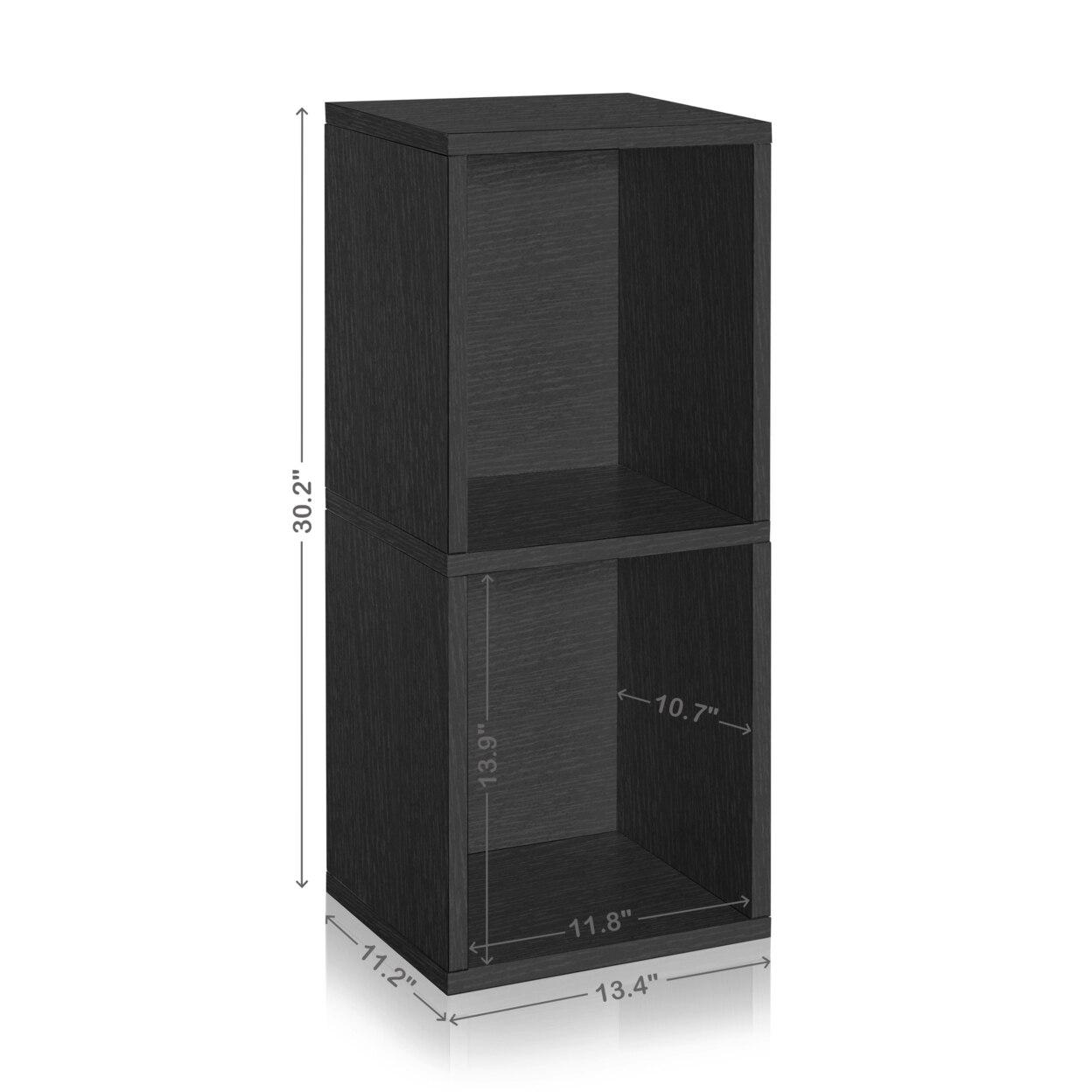Eco 2 Shelf Duo Bookcase and Storage Shelf, Black Wood Grain - Tool Free Assembly - LIFETIME WARRANTY стойка для акустики waterfall подставка под акустику shelf stands hurricane black