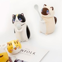 Cute Cat Mug With Lid Handmade Printed Coffee Cups And Mugs With Cat Lid Spoon Ceramic Creative Cartoon Cat Coffee Mug Cup