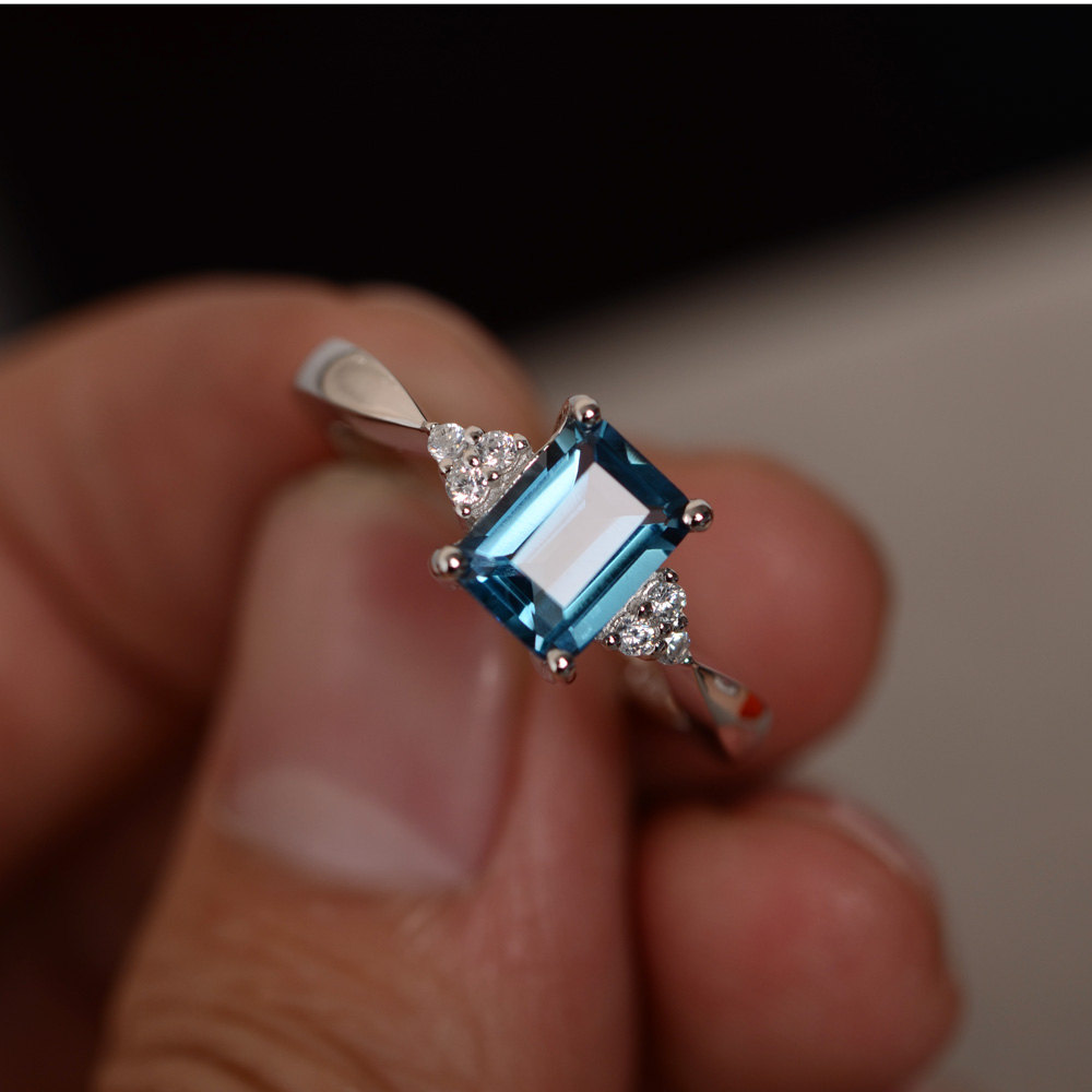 Ring For Women 6x8mm 13CT Emerald Cut London Blue Topaz