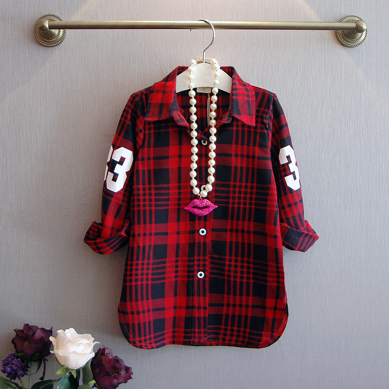 2017 spring new Children Casual Long Sleeves Plaid Shirt Blouse Baby Girls School Cotton Clothes kids toddler outwear