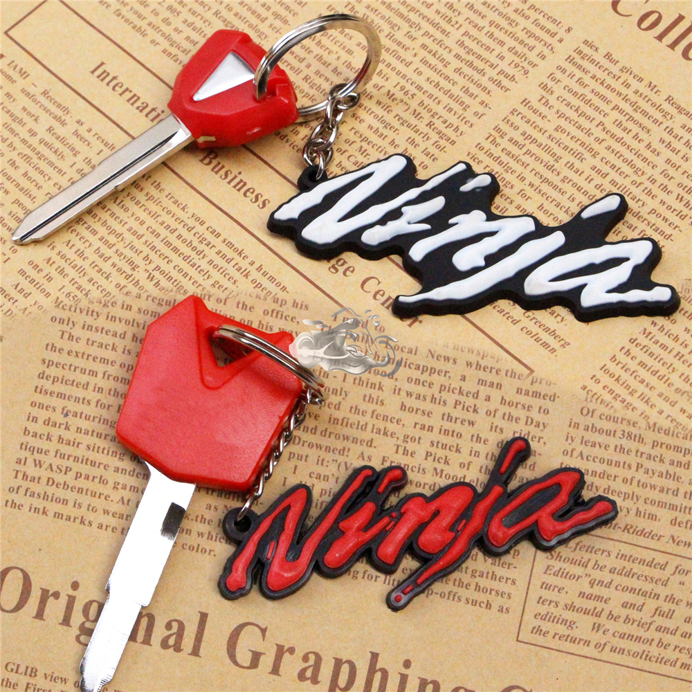 For Kawasaki Ninja ZX6R ZX-7R ZX9R ZX10R ZX12R 3D Soft Rubber Motorcycle Blade Uncut Key+Ring Keychain New