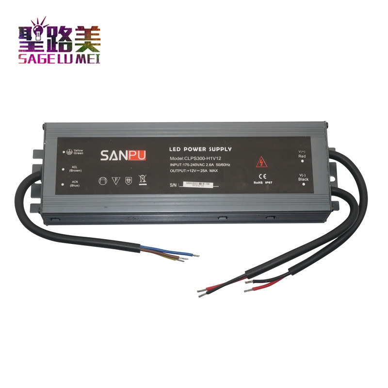 SANPU 12V Power Supply Waterproof IP67 300W 230V 220V AC to DC12 Volt Lighting Transformer LED Driver Ultra Thin Slim For LEDs sanpu 24v power supply waterproof ip67 250w 230v 220v ac to dc 24 volt lighting transformer led driver ultra thin slim for leds