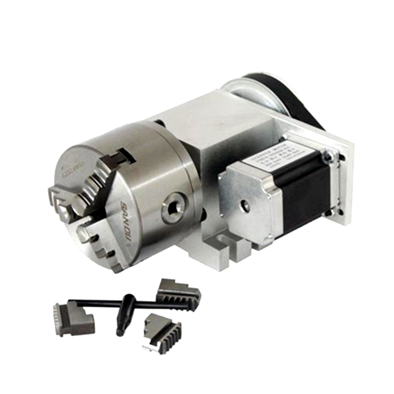 CNC Router 4 Jaw / 3 Jaw K11 100mm Chuck Hollow Rotary Axis 86 Stepper Motor Center height 65MM for CNC Milling Machine cnc 5 axis a aixs rotary axis three jaw chuck type for cnc router
