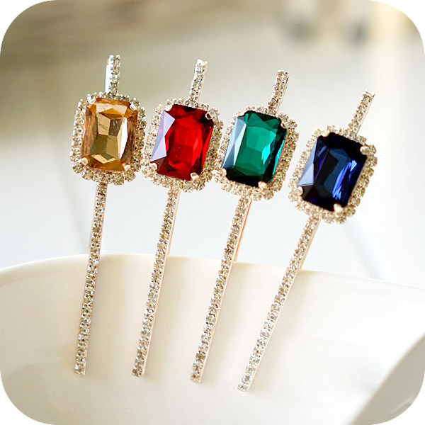 (2 STKS / PARTIJEN) Fancy Geometry Crystal Hair Clip Jewelry Rhinestone Hairpin Women Mix Color Big Hair Accessories