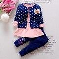 Nova Dot Conjunto Arco bebê da menina outfits Conjuntos de roupas crianças 3 PCS coat + T shirt + Calças crianças Cute Princess Heart-shaped impressão