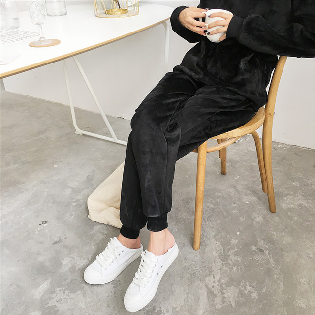 New Winter Thick Fleece Harem Pants For Women Elastic Waist lace up Solid Keep warm Trousers big Size Casual Loose Female 5