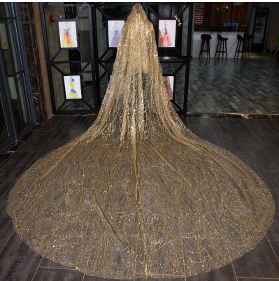 Velo bulingbuling brillante cola larga de oro novias de boda lujo velo de boda blanco capilla tren largo ropa de novia
