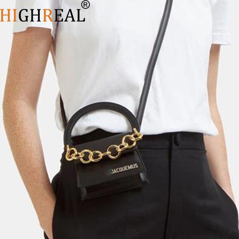 Brand Designer Mini Chain Bag Retro Black Luxury Handbag High Quality PU Leather Women Small Shoulder Messenger Crossbody Bags