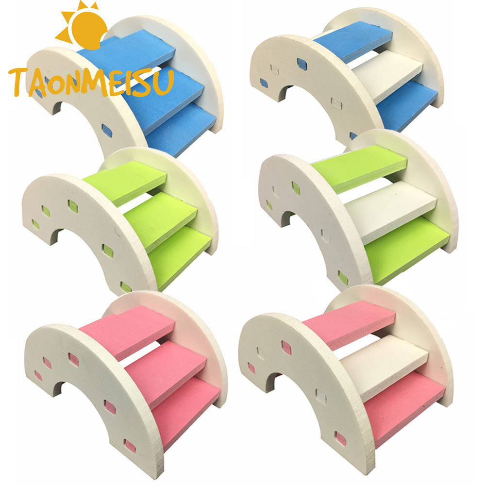 Cute Hamster Ladder Rainbow Bridge Pet Toys Wooden Bridge Hanging toys Small Animals Cage Accessories Pet Product