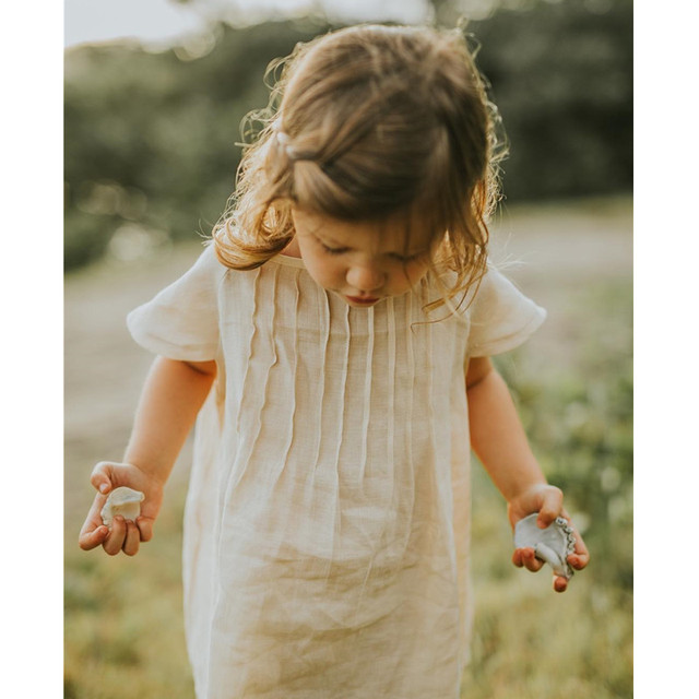 ddd3a104daa9 European Style Simple Kids Baby Girl Clothing Beige Solid Linen Dress  Toddler Children Cotton Clothes Princess Kids Girl Outfits