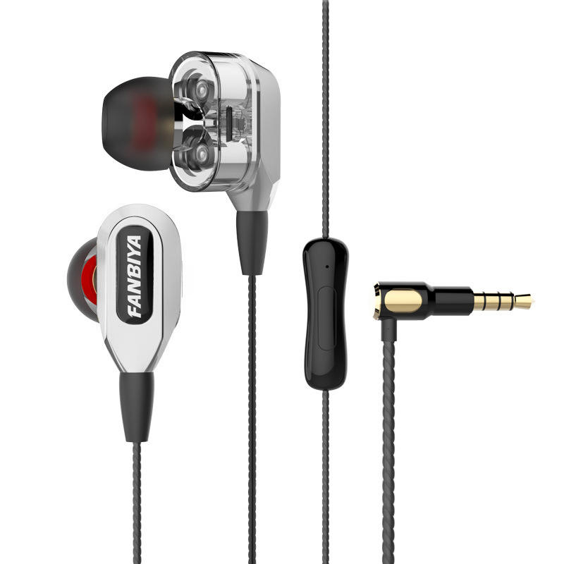 Bass In Ear Earphone Double Unit Drive Stereo Wired Earphones with mic 3.5mm Noise Canceling Earbuds for PC phone