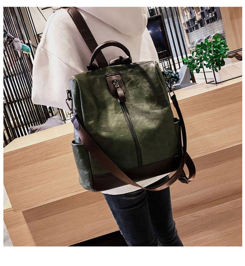 HTB1BKQdbhrvK1RjSszeq6yObFXa0 Fashion Women High Quality Leather Backpack Multifunction Leatherett Backpack For Female Big Bookbag Travel Bag Sac A Dos XA279H