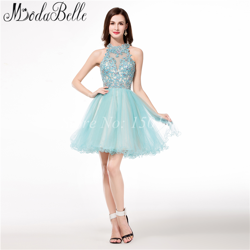 Halter Backless short cute 8th grade prom graduation dresses Beaded ...