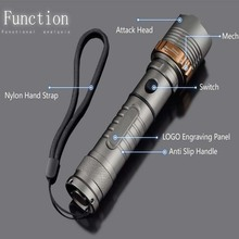 8000lm CREE XM-L T6 LED Flashlight Torch Rechargeable Lantern Hunting FlashLight  for 18650/AAA battery direct charge