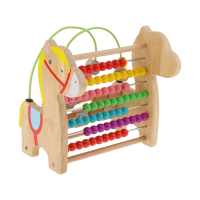Multiple Play Wooden Animal Horse Toy Side + Beads Abacus + Roller Coaster Beads Puzzle Game Educational Toys Xmas Gifts