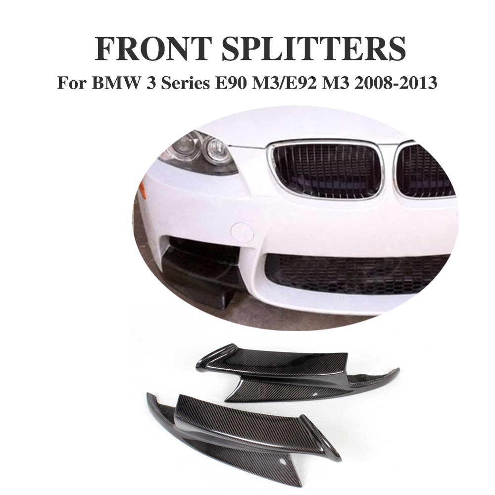 Carbon Fiber Front Bumper Lip Splitters Aprons For BMW 3 series E92 E90 E93 M3 Bumper 2008-2013 2PCS/Set Car Styling olotdi carbon fiber front lip spoiler gts style front bumper for bmw e92 e93 m3 bumper car styling accessories factory