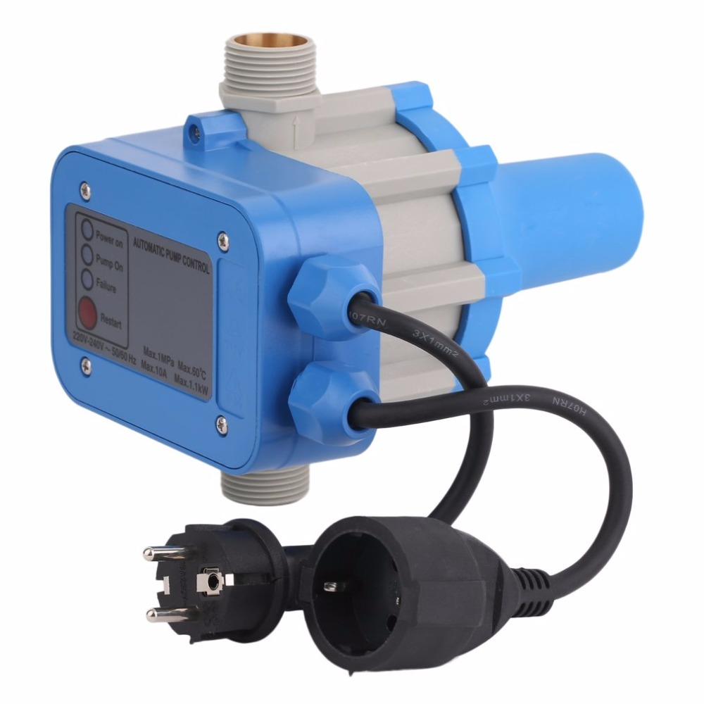 C50MIT Electronic Water Pump Automatic Pressure Control Switch Water Pump Pressure Controller With EU Plug&Cables mk wpps15 automatic water pump pressure controller electronic switch control water shortage protection with plug socket wires