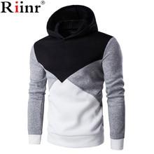 Riinr 2017 New Hooded Men's Tops Brand Male Long Sleeve Hoodie Sweatshirt Men's Slim Geometric Pattern Men's Hoodie Sportswear