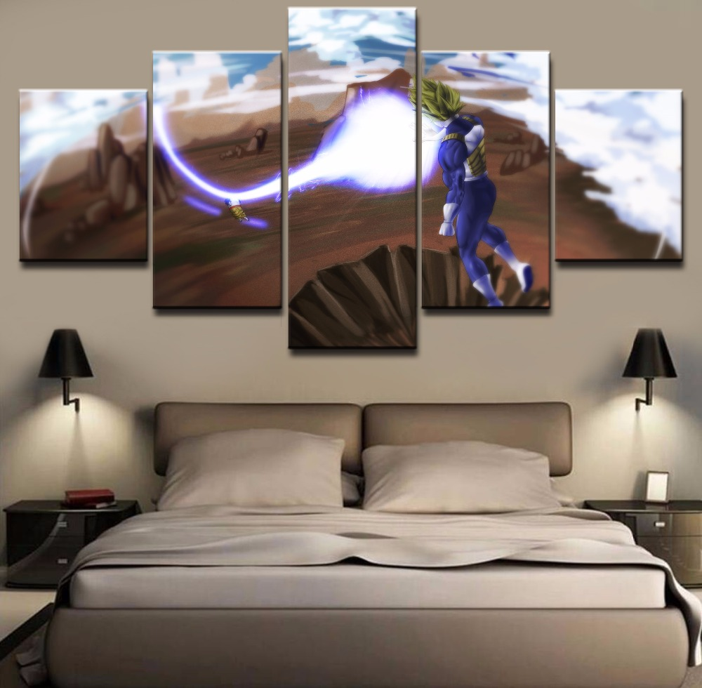 5 Piece Canvas Art HD Print Dragon Ball Z Painting Canvas Wall Art Picture Home Decoration Living Room Canvas Painting Framed