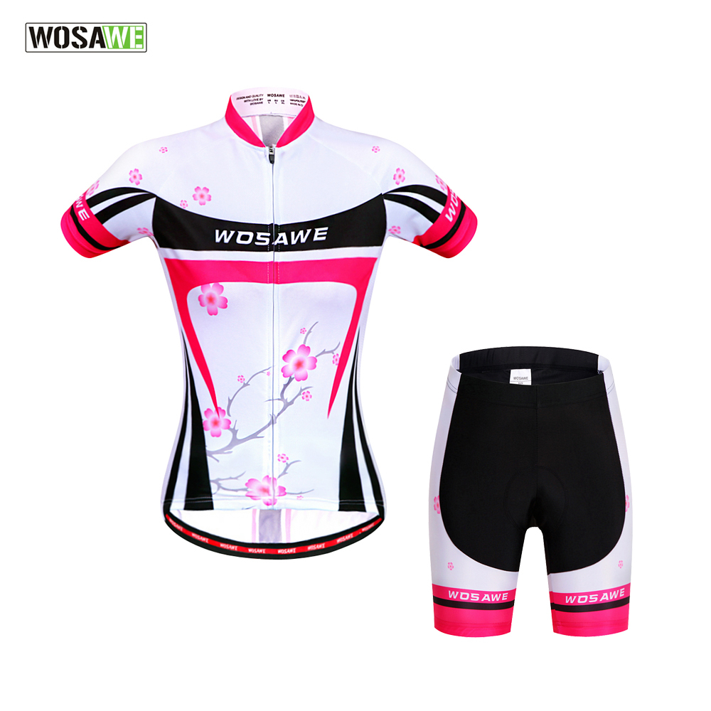 WOSAWE Summer Women's Cycling Jerseys Suit Woman MTB Wear Jerseys Bike Cycling Clothing Short Sleeve Bicycle Sportwear Clothes aubig cool unisex ladies men summer breathable elasctisch cycling clothing full zip jerseys radshorts suit