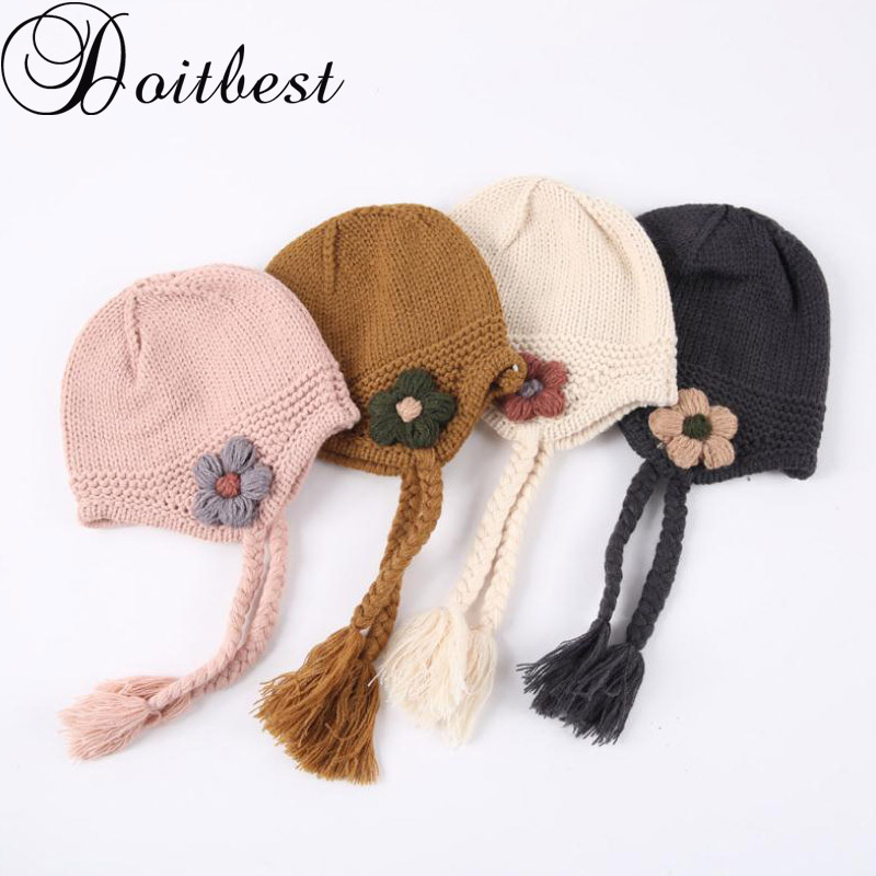0022d9d73ba Doitbest 1 to 4 Years old kids Beanies Little flower braid baby boys  Knitted hats warm