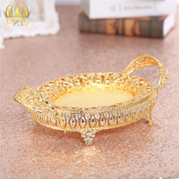1Piece Hollow Gold Metal Fruit Serving Tray Golden Decorative For Wedding Party Supplies And Home Decoration