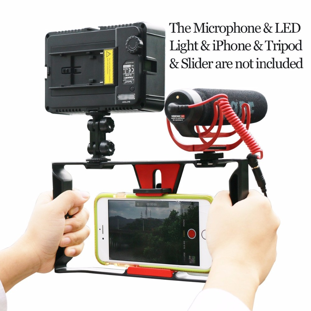 Ulanzi Handheld Video Rig Stabilizer for Live streaming / Vlogger/ Youtube with 96 Led Video Light & Rode VideoMicro microphone