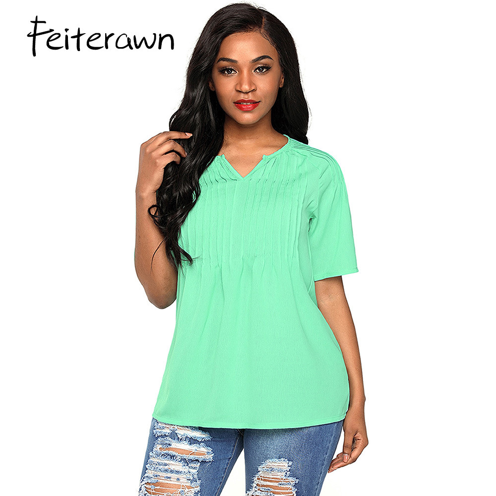 Feiterawn New 2018 Favourite Arrival Summer Womens Casual Green White Pintucks Detail Raglan Sleeves Fashion Blouse DL250823