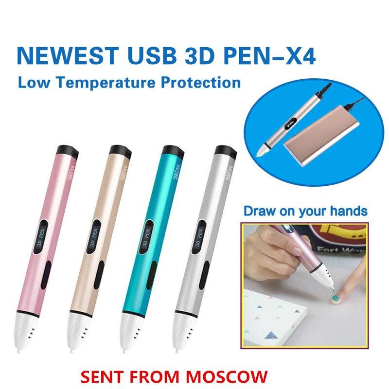 Dewang 3D Pen X4 Low Temperature 3D Printing Pen 3D Handle Magic Pen Bets Birthday Gift with Free PCL Filament 3D Printer Pen цена 2017