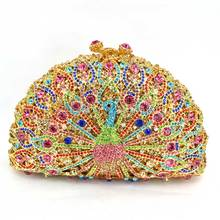 Funkelnden Strasssteinen Diamant Frauen Multi Kristall Pfau Abendtaschen Metall Kupplungen Handtaschen und Hardcase Umhängetasche Q33