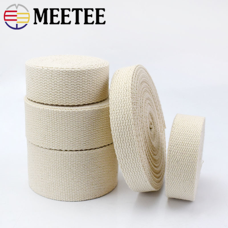 9Meter 20/25/32/38/50mm 100% Cotton Webbings For Bag Strap Backpack Band Ribbons Belt Strapping Bias Binding Tape