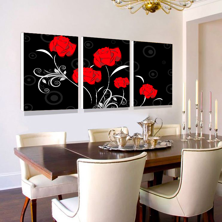 Black and white simple red rose flowers decorative for Cadre floral mural