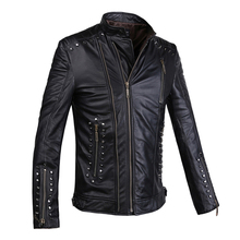 Leather Jacket genuine  Sheepskin Jacket Mens Black leather Jacket Men's coat 9912