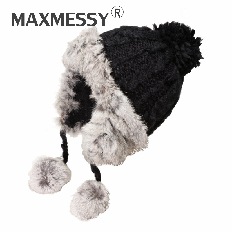 MAXMESSY Women Warm Natural Rabbit Fur Pom Poms Knitted Hats Lovely Winter Thicken Earflap Keep Warm   Skullies     Beanies   Caps N203