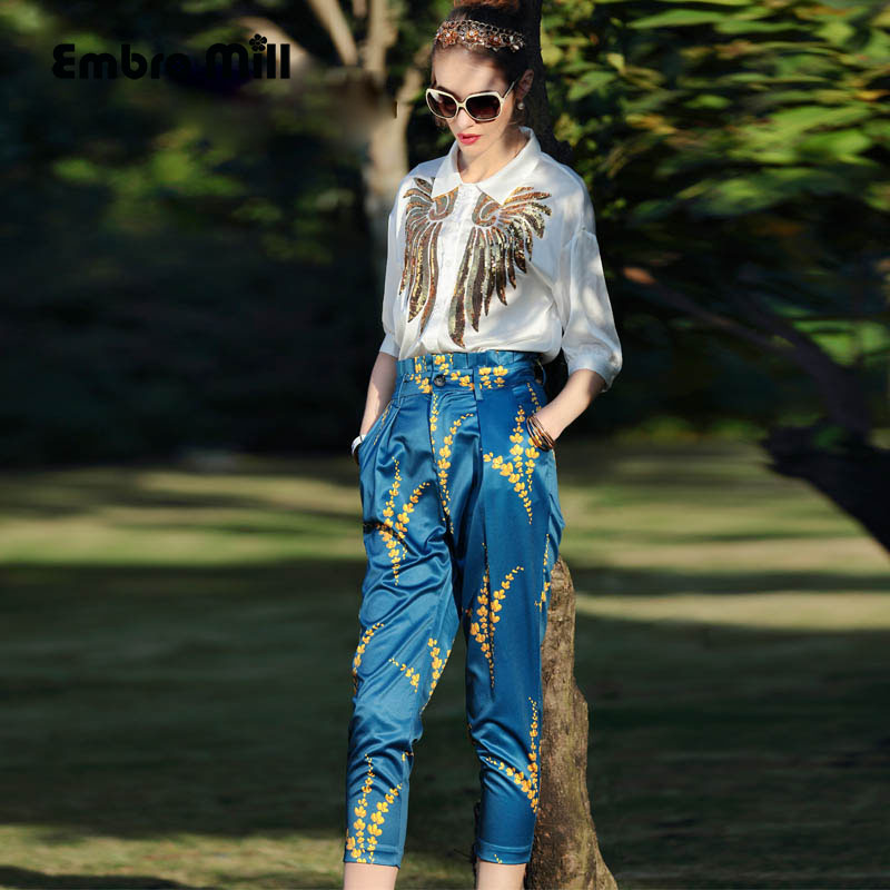 Womens two piece set new arrival American and European fashion runway white sequined shirt top + print pants lady suit S-XL 2015 lady s fashion new arrival women s handbag 100
