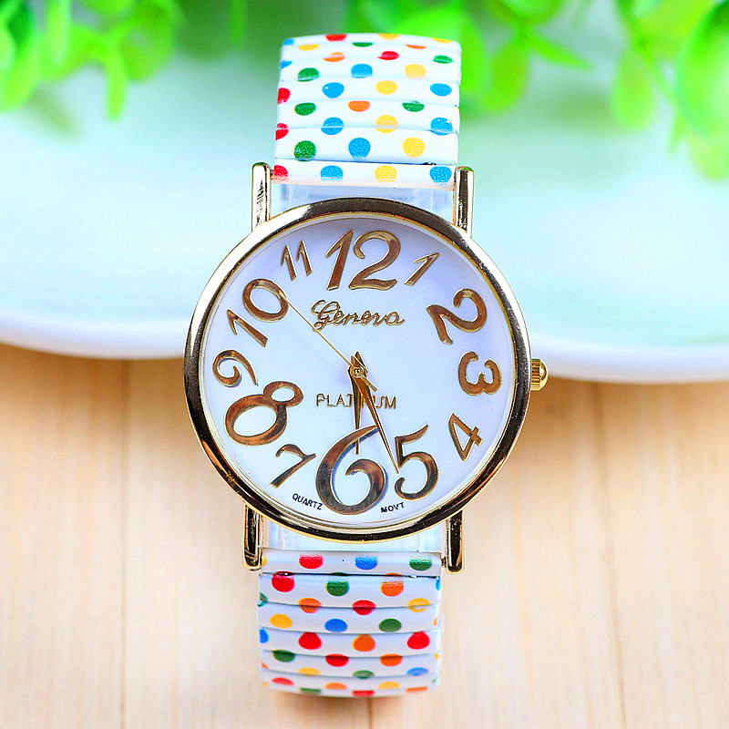 все цены на women watches 2018 luxury hot new Stylish Unisex Polka Dot Casual Elastic Strip Quartz female man Watches reloj hombre P*21