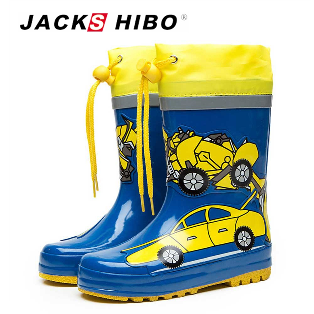 JACKSHIBO Kids Rain Boots Children's Rubber Boots for Child Water Boots Watertight Shoes Anti skid light Child Water Footwear