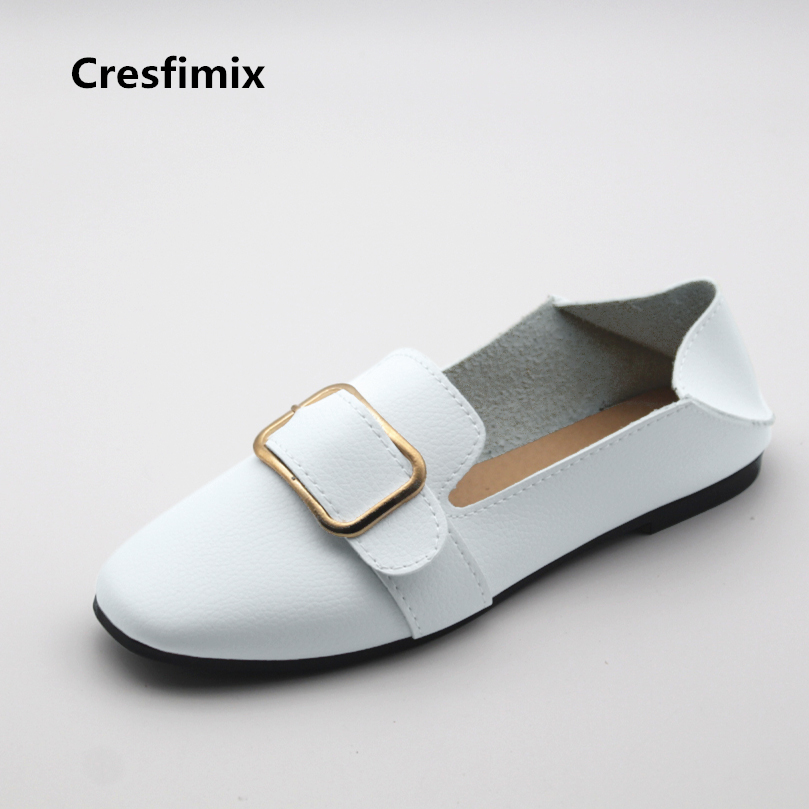 Cresfimix women cute spring & summer pu leather flat shoes lady white soft flats zapatos de mujer female casual street shoes cresfimix zapatos de mujer women fashion pu leather slip on flat shoes female soft and comfortable black loafers lady shoes