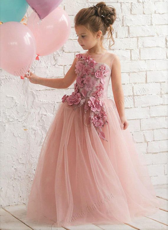 Fairytale 3d flowers blush pink soft tulle kids girl sheer performing dress little princess pageant birthday celebration gown бальзам для губ eos shimmer lip balm sheer pink цвет sheer pink variant hex name e2afba